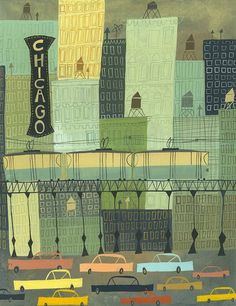 illustrative painting of Chicago by Matte Stephens.