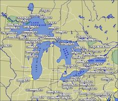 Map of WaterFalls in the Great Lakes Region