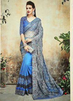 Wide range of saree available online. Buy this Blue and Grey Embroidered Net and Satin Chiffon Designer Half and Half Saree With designer Blouse. Bridal Sarees Online, Party Wear Sarees Online, Online Shopping Sarees, Indian Bridal Sarees, Indian Beauty Saree, Chiffon Saree, Georgette Sarees, Silk Sarees, Saree Models