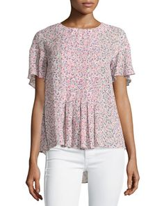 Floral-Print+Flutter-Sleeve+Top,+Porcelain+Multi+by+French+Connection+at+Neiman+Marcus+Last+Call.