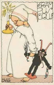 Alice Wanke: Krampus, 1915 Krampus, a beast-like creature, generally demonic in appearance, has roots in Germanic folklore Krampus is featured on holiday greeting cards called Krampuskarten