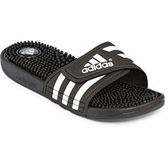 adidas Adissage Womens Slides ($25) ❤ liked on Polyvore featuring shoes, sandals, slip-on shoes, light weight shoes, pull on shoes, rubber sole shoes and slip on sandals