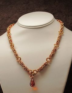 New necklace byzantine weave with mobius connectors and magma helix crystal