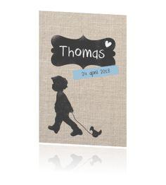 LOVZ 4 War Child - enkel geboortekaartjes - jongen - lief- vintage tekst kader - linnen print - jongen met speelgoed eend
