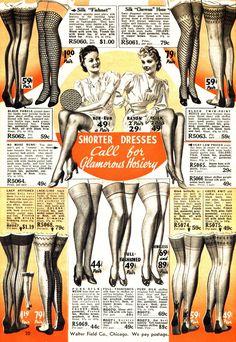 >Shorter Dresses Call for Glamorous Hosiery- 1939-1940