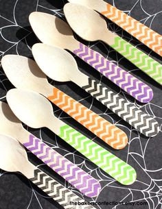 Halloween Chevron Ice Cream or Cupcake Spoons by thebakersconfections,