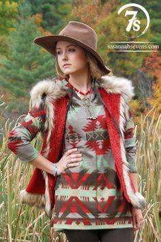 The Frisco – red fur trim Tasha Polizzi vest from Savannah Sevens Western Chic