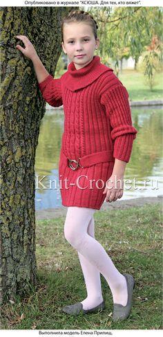 Платье винного цвета для девочки 9 лет, вязанное на спицах.