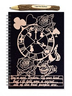 This is a 100 sheet (200 page) spiral bound notebook featuring a print of my original Alice in Wonderland papercut.  Our notebooks could be used
