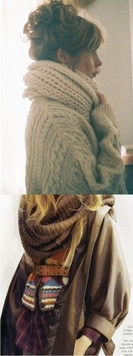 These bulky knit scarves look so warm and cozy #scarves