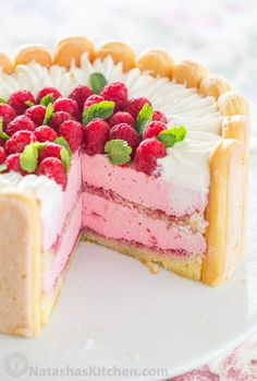 With step-by-step photos, you can master Raspberry Charlotte Russe Cake! A Charlotte Dessert with layers of raspberry mousse, lady fingers and fluffy cake. I love Natasha! Charlotte Dessert, Charlotte Russe Cake, Mothers Day Desserts, Just Desserts, Dessert Recipes, Finger Desserts, Easy Sponge Cake Recipe, Sponge Cake Recipes, Birthday Cakes