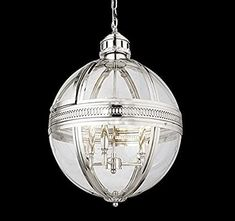 "19Th C. Victorian Globe Pendant Chandelier Polished Nickel Dia 17.5"" H 25.5"" Gorgeous Light Fixture (Brushed Nickel)#19th #brushed #chandelier #dia #fixture #globe #gorgeous #light #nickel #pendant #polished #victorian Plug In Pendant Light, Pendant Light Fixtures, Globe Pendant, Ceiling Pendant, Chandelier Chain, Kitchen Chandelier, Kitchen Lighting, Victorian Chandelier, Polished Nickel"
