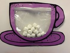 Type: Can use fixed ratio or continual reinforcement- contextualized general reinforcement.  Earn marshmallow points for target behavior. When the mug is full, they get hot chocolate or candy bar of their choice.   Need: Construction paper, stapler, marker, marshmallows, ziplock bag