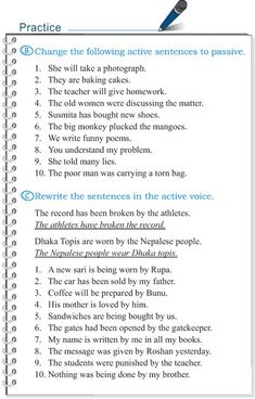 Grade 5 Grammar Lesson 12 Voice active and passive English Grammar Exercises, Teaching English Grammar, English Grammar Worksheets, English Vocabulary, Teaching Spanish, Grammar Quiz, Grammar Practice, Grammar Lessons, Writing Lessons