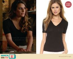 Rachel's black top on Glee.  Outfit Details: http://wornontv.net/32449/ #Glee