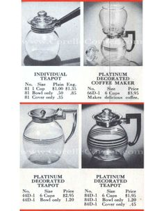 1938 Pyrex Leaflet, teapots and coffee makers with bakelite or chrome handles