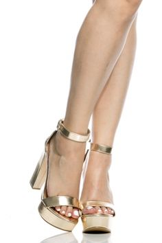 Gold Faux Leather Platform Ankle Strap Heels - $32.99