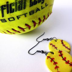 Handmade Softball Dangle Earrings, Ceramic Sports Jewelry, Yellow Softball, Athlete Earrings, Summer Team Sports, Gift for Softball Players via Etsy