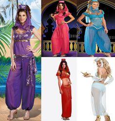 GENIE Jasmine Aladdin Princess Adult Costume Fancy Dress Arabian Belly Dancer