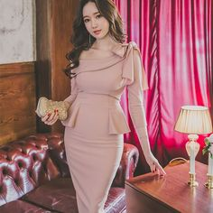 2017 Spring Women Office Bandage Party Sexy Bandage Bodycon Vintage Office Vestidos Pink Dresses One-Shoulder 3/4 Sleeve Dress #Affiliate