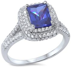 Emerald Cut Tanzanite CZ 1.00 Carat Tanzanite Round CZ Solitaire Accent Split Shank Solid 925 Sterling Silver Halo Wedding Engagement Ring