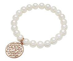 Perldesse - Parel armband Eva, rose/wit, L 18 cm