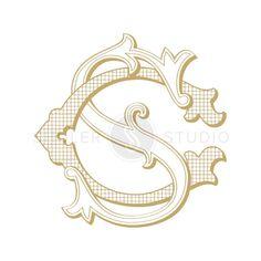 Vintage Monogram, Monogram Logo, Wedding Monogram, Digital Monogram  This beautiful hand-crafted monogram with interlocking vintage letters can be