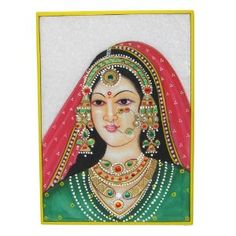 Handmade In India Gifts Embossed Miniature Painting On Marble Plate Of A Maharani and The Indian Jewelry: Amazon.co.uk: Kitchen & Home