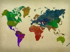 World Map Watercolor Impressão artística