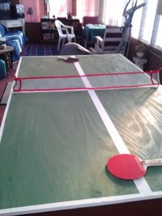 My sis gave me this idea! Just plywood painted green! So simple can believe I didn't think of it before! Used white tape for the lines and window screening lined with ribbon for the net. All we bought was paddles n balls. :-). So much fun!