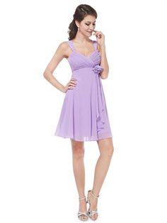Lilac Chiffon Straps Empire Waist Sweetheart A Line Cheap Pretty Short Prom Dress