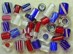 David Christensen Red White & Blue Patriotic USA July Fourth Cane Glass Beads