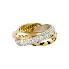 CARTIER ring - Three bands intertwined in harmony, three colors of gold: pink for love, yellow for fidelity and white for friendship. The unique, timeless and cosmic Trinity design is now available adorned with colored gemstones, pearls or black ceramic. A bold style to embellish the loves of your life. Trinity, all about you forever. 13k USD