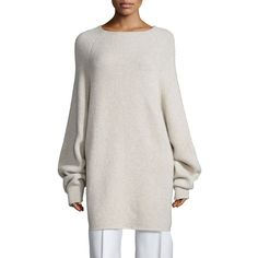 THE ROW Kandel Oversize Cashmere Sweater ($845) ❤ liked on Polyvore featuring tops, sweaters, stone melange, sweater pullover, boat neck cashmere sweater, cashmere cocoon sweater, cashmere pullover sweater and oversized sweaters