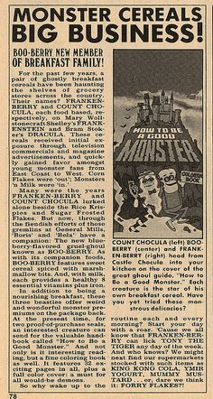 1974 Famous Monsters Boo Berry Article - I remember when they first came out with these cereals (and Boo Berry was my favorite)