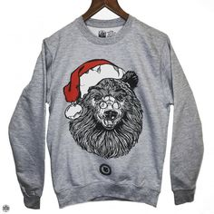 THE BEARHUG CO - Bearded Santa Bear - Heather Grey Sweatshirt
