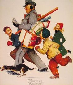 Norman Rockwell Jolly Postman painting, oil on canvas & frame; Norman Rockwell Jolly Postman is shipped worldwide, 60 days money back guarantee. Norman Rockwell Prints, Norman Rockwell Paintings, Christmas Art, Vintage Christmas, Christmas Gifts, Peintures Norman Rockwell, The Saturdays, Pocket Letter, Norman Rockwell Christmas
