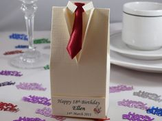 Birthday favour, Ivory Silk Tuxedo Favour Box, decorated with burgundy tie