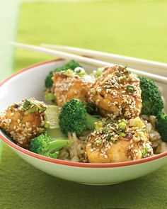 Lighter Sesame Chicken - double the sauce so it coats the rice and broccoli too