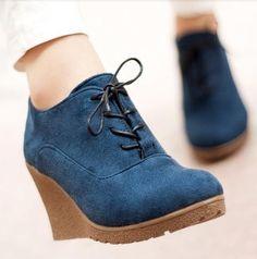 Aliexpress.com: Comprar 2015 nuevas cuñas botas cuñas mujeres acuden moda de tacón alto de la plataforma cuñas botines Lace Up High Heels plataformas zapatos para mujeres de zapatos de jazz fiable proveedores en Kangston International