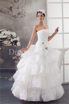 A-Line Strapless Summer Floor-length Wedding Dress