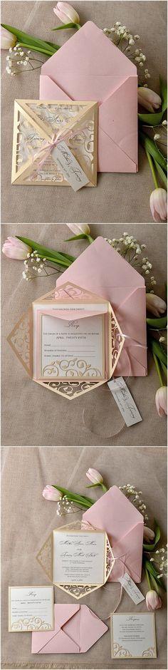Vintage Patel Pink Blush Gold Laser Cut Wedding Invitation - Deer Pearl Flowers