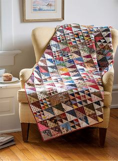 """Triangle-squares in four sizes combine in a variety of ways to make 6"""" blocks for this stunning scrap quilt. Our diagrams will show you how to arrange the blocks to achieve the same results. Makes a great fat quarter quilt pattern! Size options included."""