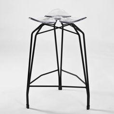 Diamond modern counter stool with black legs