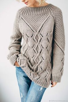 DIMENSIONS: For knitting a sweater with raglan knitting needles: Yarn natural Raglan, Sweater Knitting Patterns, Knit Patterns, Sewing Patterns, How To Purl Knit, Cozy Sweaters, Sweater Weather, Fall Outfits, Knitwear