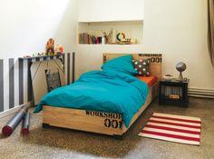 Chambre garcon lit bois