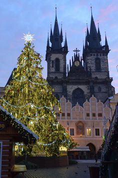 Prague, Church of Our Lady before Tyn  at Christmas  by karbous on deviantart