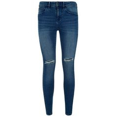 Waven Split Knee Ankle Grazer Jeans ($69) ❤ liked on Polyvore featuring jeans, bottoms, ripped denim skinny jeans, skinny jeans, blue skinny jeans, blue distressed jeans and destroyed skinny jeans