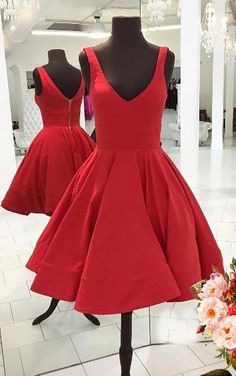 Homecoming Dress Ruched with Scoop Sleeveless Knee-Length Red Satin,Sexy prom dress,A-Line dress