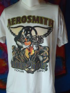 Vintage - Aerosmith - 1997 - Nine Lives - Tour - T-shirt - White - XL